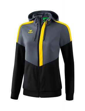 Squad Track Top Jacket with hood - Women - slate grey/black/yellow
