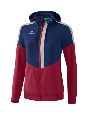 Squad Track Top Jacket with hood - Women - new navy/bordeaux/silver grey