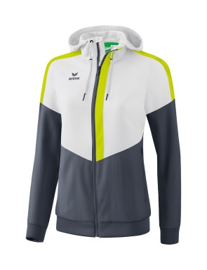 Squad Track Top Jacket with hood - Women - white/slate grey/bio lime