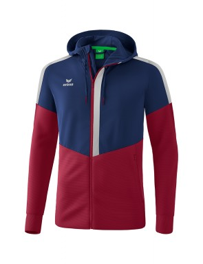 Squad Training Jacket with hood - Men - new navy/bordeaux/silver grey