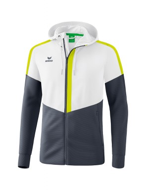 Squad Training Jacket with hood - Kids - white/slate grey/bio lime