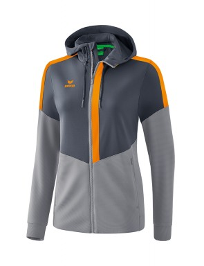 Squad Training Jacket with hood - Women - slate grey/monument grey/new orange
