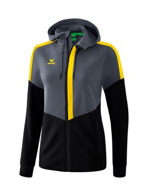 Squad Training Jacket with hood - Women - slate grey/black/yellow
