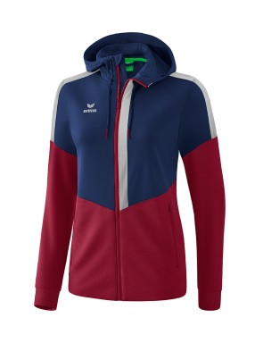 Squad Training Jacket with hood - Women - new navy/bordeaux/silver grey