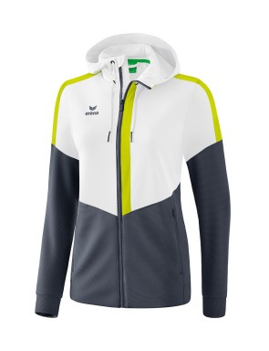 Squad Training Jacket with hood - Women - white/slate grey/bio lime