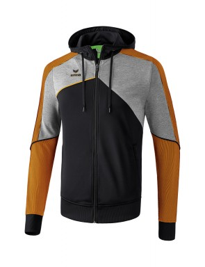 Premium One 2.0 Training Jacket with hood - Kids - black/grey marl/neon orange
