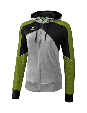 Premium One 2.0 Training Jacket with hood - Women - grey marl/black/lime pop