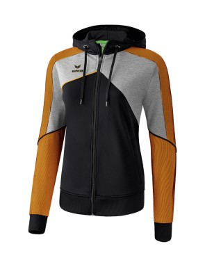 Premium One 2.0 Training Jacket with hood - Women - black/grey marl/neon orange