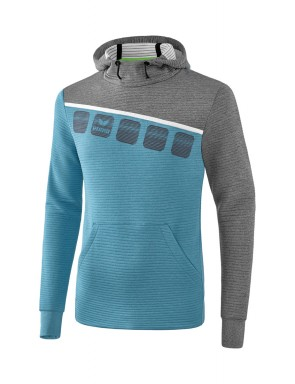 5-C Hoody - Men - oriental blue melange/grey melange/white
