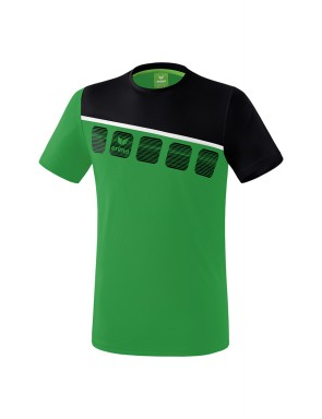 5-C T-shirt - Men - emerald/black/white