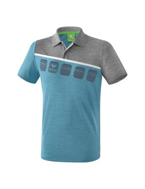 5-C Polo-shirt - Men - oriental blue melange/grey melange/white