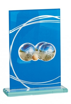 Petanque trophy in glass with triplette and jack picture, 17cm