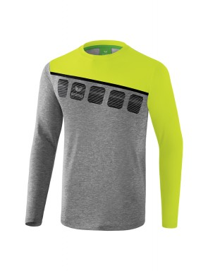 5-C Longsleeve - Men - grey marl/lime pop/black