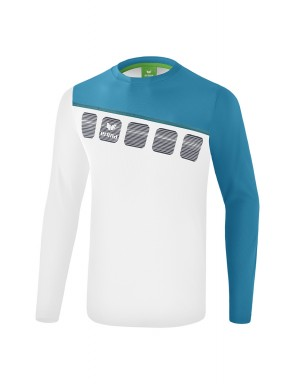 5-C Longsleeve - Kids and Adults - white/oriental blue/colonial blue