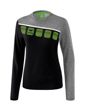 5-C Longsleeve - Women - black/grey marl/white