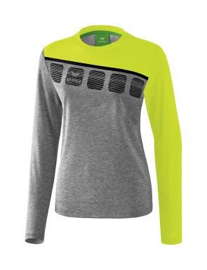 5-C Longsleeve - Women - grey marl/lime pop/black