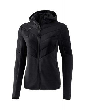 Quilted Jacket/Cardigan with hood - Women - black