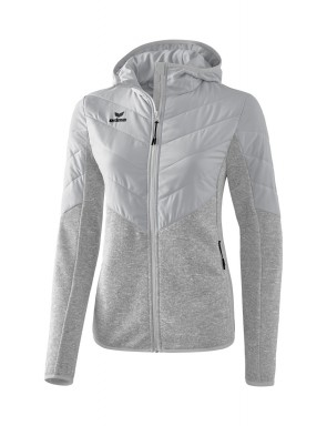 Quilted Jacket/Cardigan with hood - Women - light grey