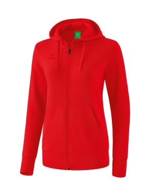 Hooded Sweat Jacket - Women - red