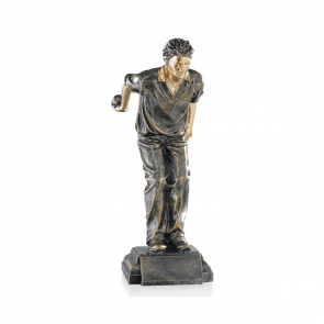 Petanque trophy with a man shooting 28 cm
