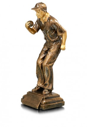 Petanque trophy the Shooter, bronze color, 31 cm