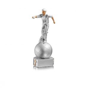 Trophy petanque player on a ball