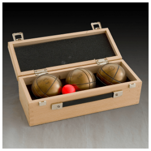 Wooden box for 3 balls La Boule Bleue
