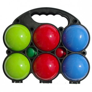 Set of 6 painted wooden balls