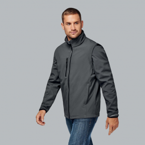 Detachable sleeve softshell jacket - men - titanium