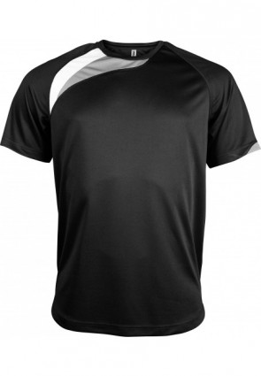 Short-sleeved sports t-shirt - kids - white/black/storm grey