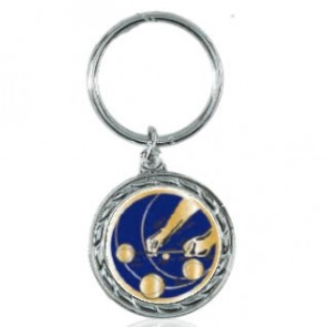 Key ring pétanque medal blue gold