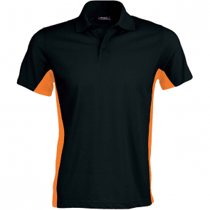 Flag > short-sleeved two-tone polo shirt - men - black/orange