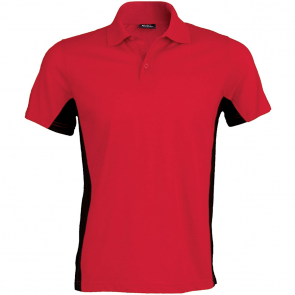 Flag > short-sleeved two-tone polo shirt - men - red/black