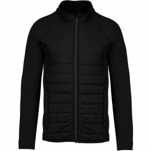 Dual-fabric sports jacket - men - black/black