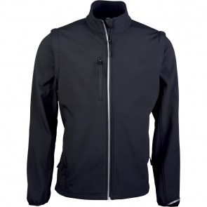 Detachable sleeve softshell jacket - men - black