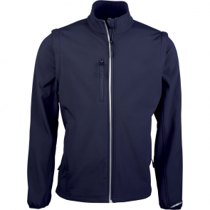 Detachable sleeve softshell jacket - men - navy