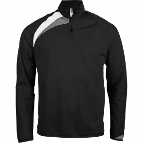 Zip neck training top - men - black/white/storm grey