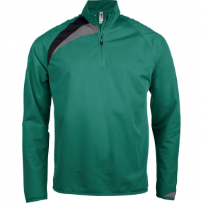 Zip neck training top - men - dark green/black/storm grey