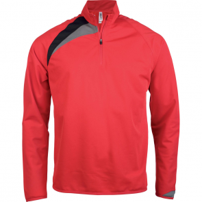 Zip neck training top - kids - sporty red/black/storm grey