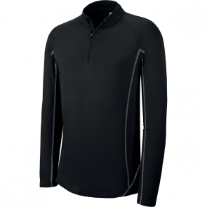 Zip neck running sweatshirt - men - black