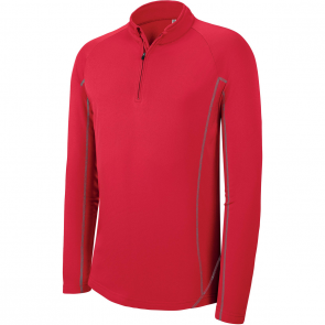 Zip neck running sweatshirt - men - sporty red
