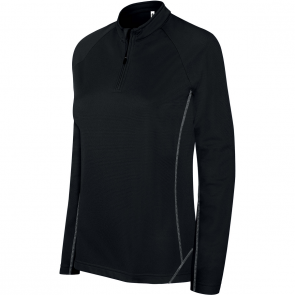 Zip neck running sweatshirt - ladies - black