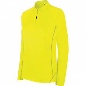 Zip neck running sweatshirt - ladies - fluorescent yellow