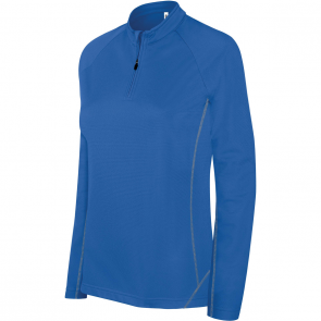 Zip neck running sweatshirt - ladies - sporty royal blue