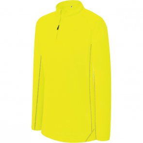 Zip neck running sweatshirt - kids - fluorescent yellow