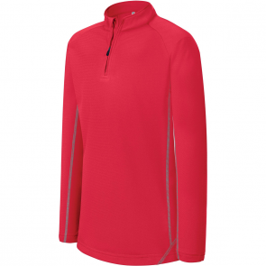 Zip neck running sweatshirt - kids - sporty red