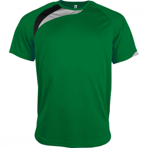 Short-sleeved sports t-shirt - men - green/black/storm grey