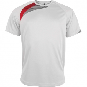 Short-sleeved sports t-shirt - men - white/sporty red/storm grey
