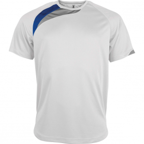 Short-sleeved sports t-shirt - men - white/sporty royal blue/storm grey