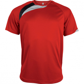 Short-sleeved sports t-shirt - kids - sporty red/black/storm grey